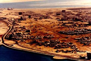 Aerial photograph of Abu Dhabi's corniche, 1971 rare old photo