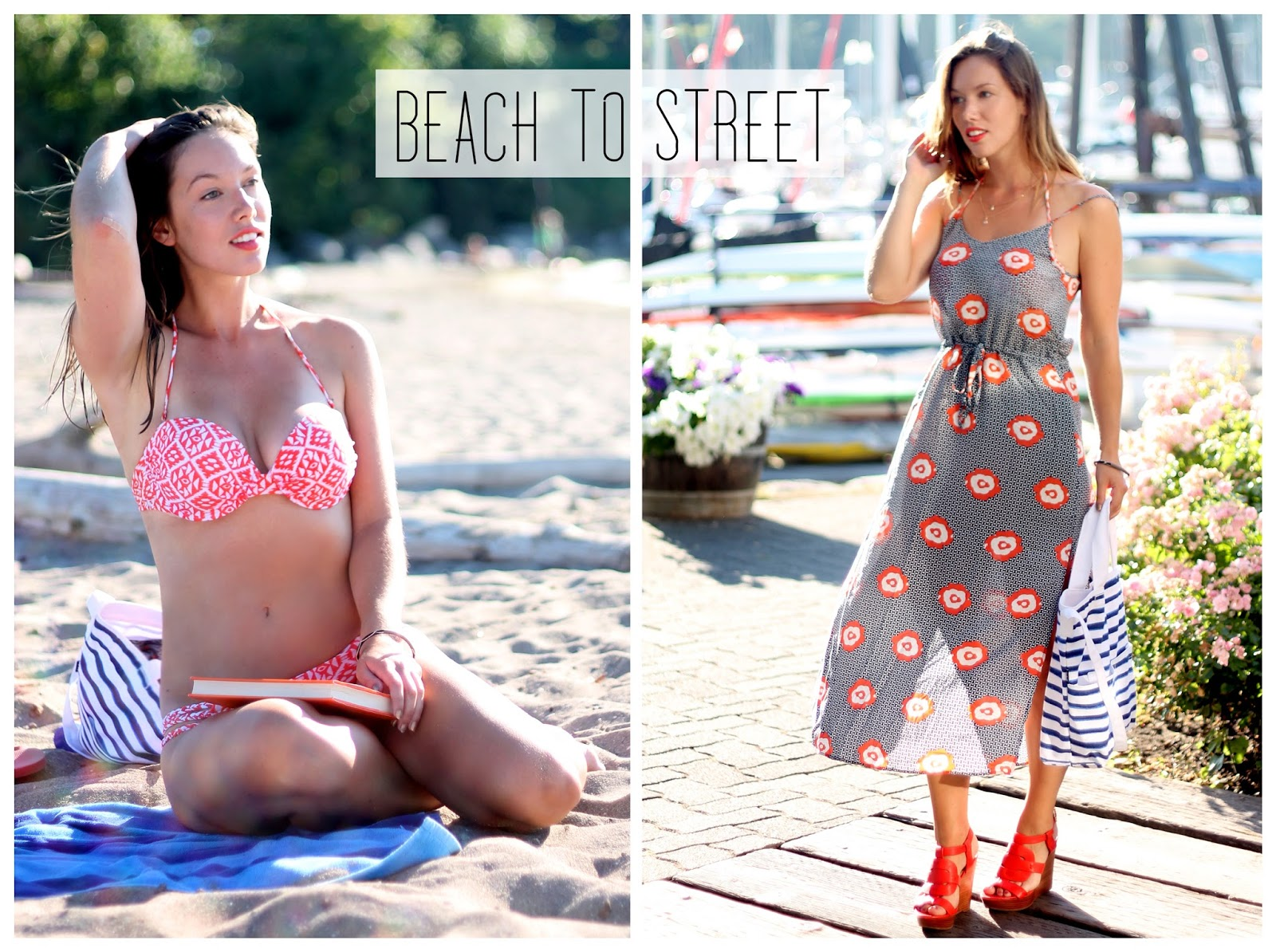 beach to street, beach style, summer style, to vogue or bust, vancouver style blog, vancouver fashion blog, vancouver fashion blogger, canadian fashion blog, vancouver fashion, swimwear, vancouver beach, brooklyn designs alexandra necklace, vamastyle dress, sole society heels, maybelline vivid mandarin, chloe perfume, gap canada bag, o'neill bathing suit