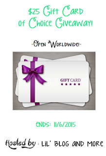 Enter the $25 Gift Card of Choice Giveaway. Ends 11/6