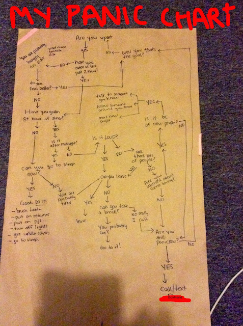 this is a panic flowchart. It has all the things I am supposed to do when I panic. In a flowchart so that I can understand it.