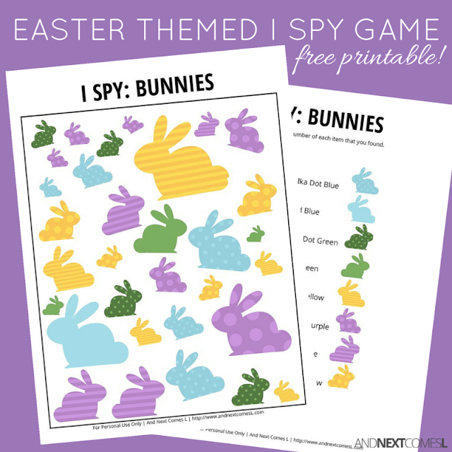 Free printable Easter bunny themed I Spy game for kids from And Next Comes L