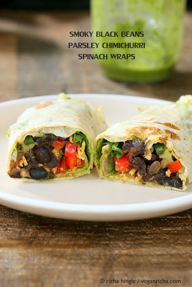 Smoky Black Bean Wraps with Parsley Chimichurri, Spinach. Vegan Recipe ...
