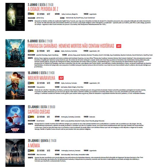 Cartaz Cinema Junho 2017