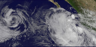 Pot. Tropischer Sturm HECTOR wird wahrscheinlich Hurrikan - Mexiko momentan nicht bedroht, Hector, Mexiko, Hurrikansaison 2012, aktuell, Pazifische Hurrikansaison, Nordost-Pazifik, Satellitenbild Satellitenbilder, August, 2012,