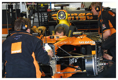 arrows formula one team in garage