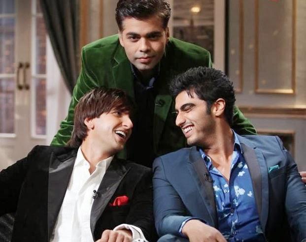 Ranveer Singh and Arjun Kapoor with Karan Johar at Koffee with Karan talk show