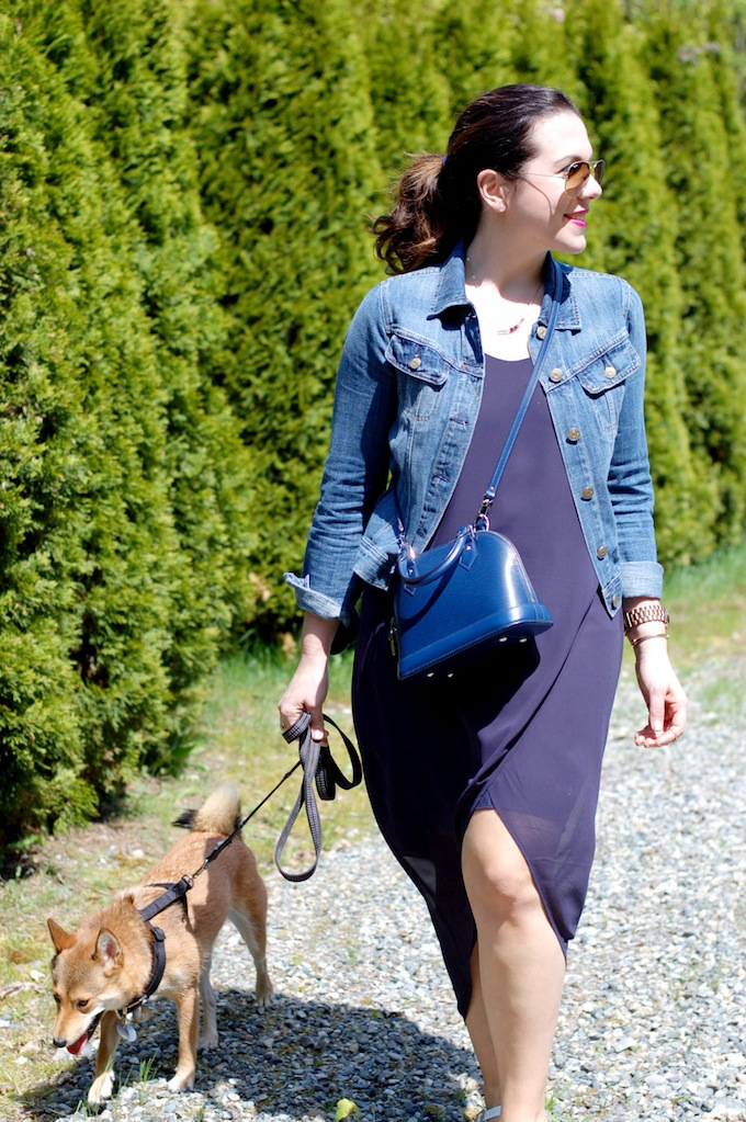 H&M chiffon dress, J.Crew denim jacket and a Louis Vuttion BB Alma bag by Vancouver blogger Covet and Acquire.