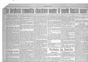 1921 sulle pagine de L'Assalto, giornale del Fascio bolognese di Combattimento,