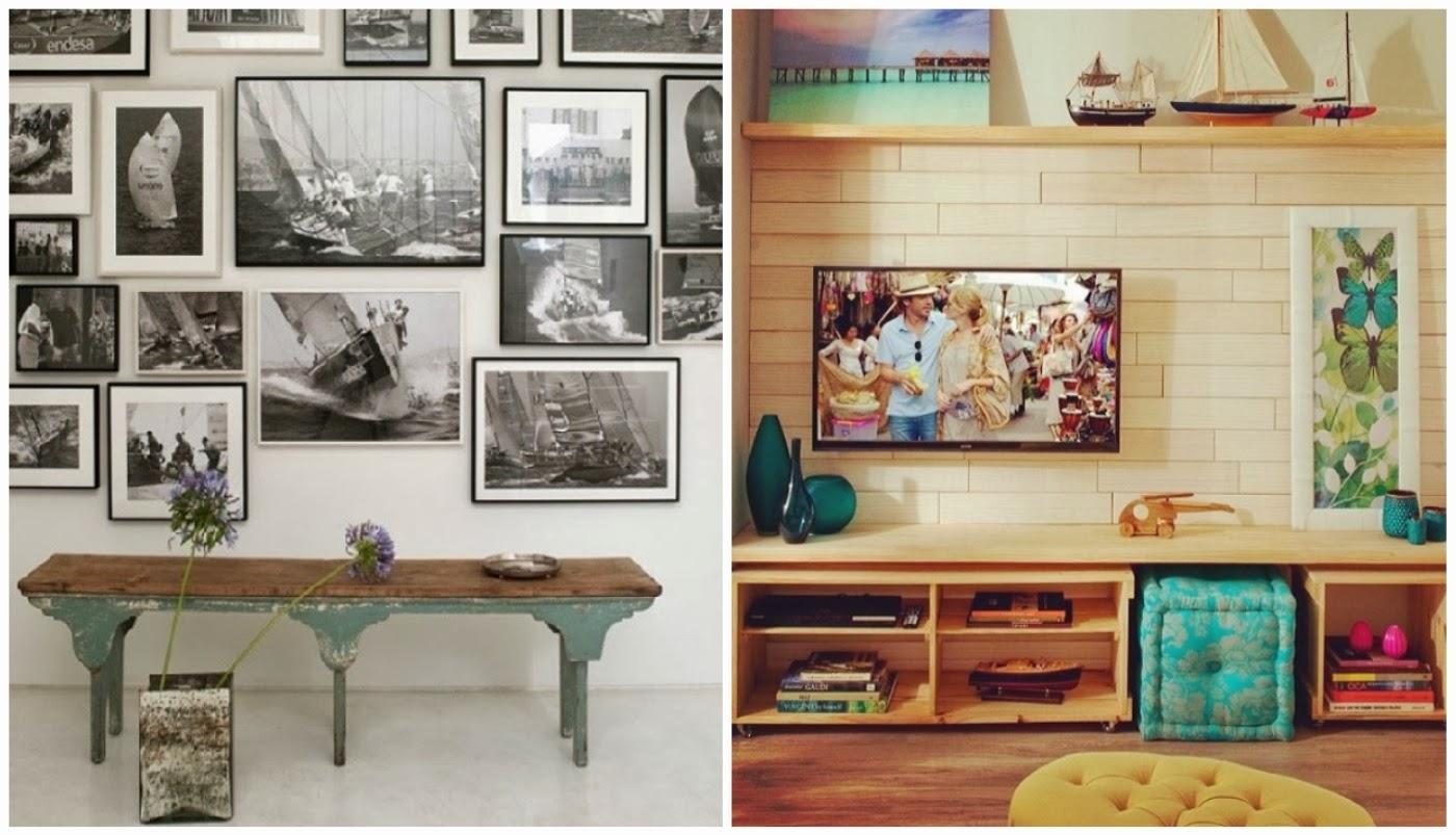 parede com coleção de fotografias @etxekodeco e parede com quadros @decorame