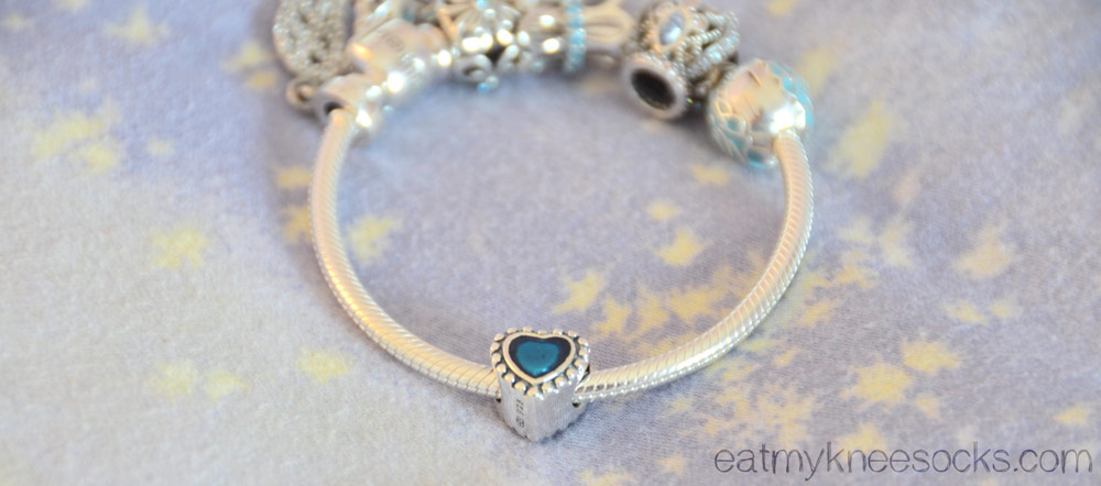 Another photo of the blue heart bracelet charm from Soufeel, a Pandora-esque jewelry store.