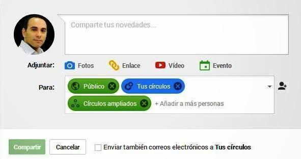 Captura ventana publicación Google+