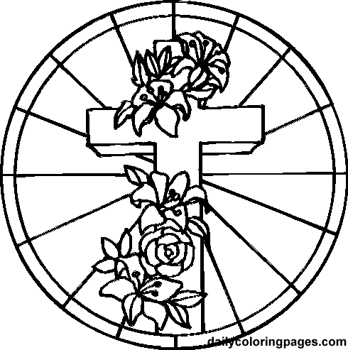 Cross coloring pictures, Christ religious coloring page