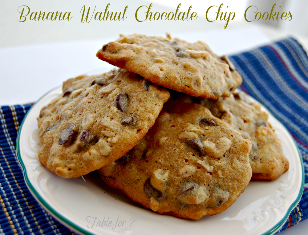Banana Walnut Chocolate Chip Cookies • Table for Seven