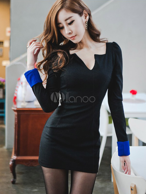 Charming Notched Neckline Cotton Woman's Mini Dress