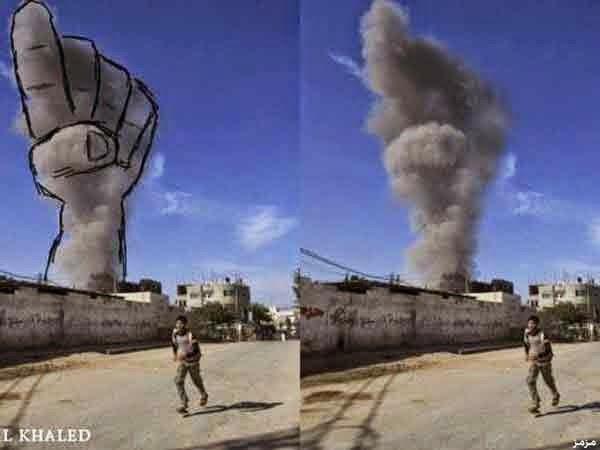 فلسطينيون يحولون دخان الغارات للوحات فنية 8