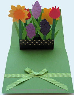 pop up card flower box