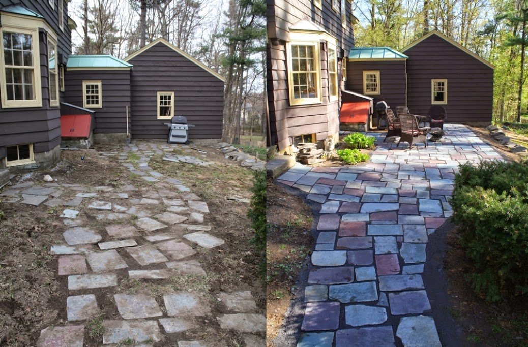 Making a slate patio | Building a Slate Patio | Before & After