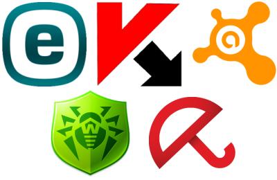 ESET NOD32, Kaspersky, Avast, Dr.Web, Avira (2015)