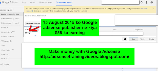 Google Adsense publisher ne 15 August 2015 ko $56 ka earning kiya hai-see screenshot