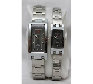 jam tangan keren SWISS ARMY COUPLE SA-88 SILVER BLACK