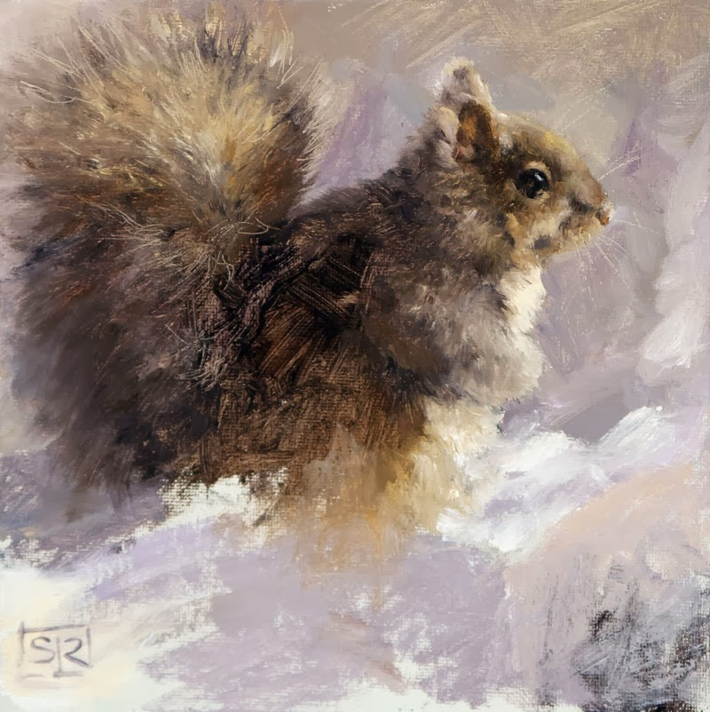 Eastern Gray Squirrel, oil on canvas board, Shannon Reynolds