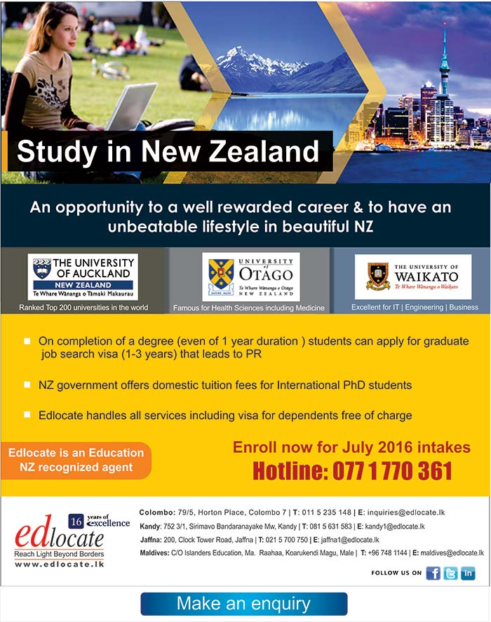 Edlocate is a premier student guidance agency in Sri Lanka and the Maldives for selected tertiary institutions in Australia, United Kingdom, New Zealand, Malaysia, Singapore and India. Through these quality universities we represent, we offer a wide range of undergraduate & postgraduate courses which leads to skills in demand internationally. We also offer pathways to degree courses through Pre University Foundation Programs & Diplomas with excellent articulation to corresponding degrees. Specialty courses in hospitality trade with paid industry placements too are offered.