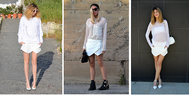 Zara skort - all white outfit