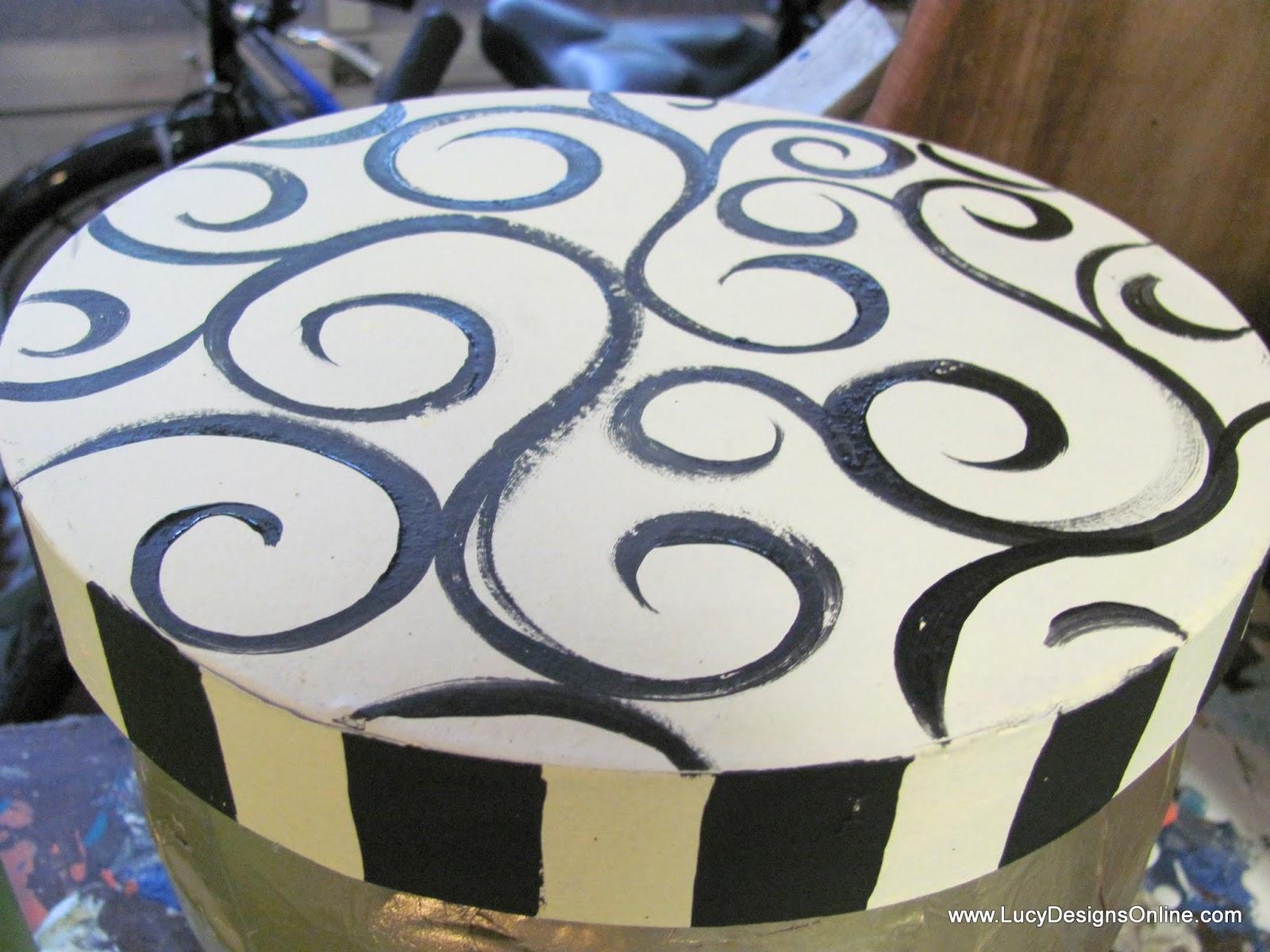 hand painted paper mache lids