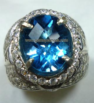 blue topaz ring perak tebal mewah