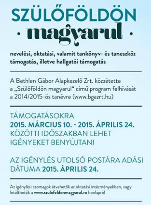oktatás, szülőföldön magyarul, anyanyelvi oktatás, Bethlen Gábor Alapkezelő Zrt.