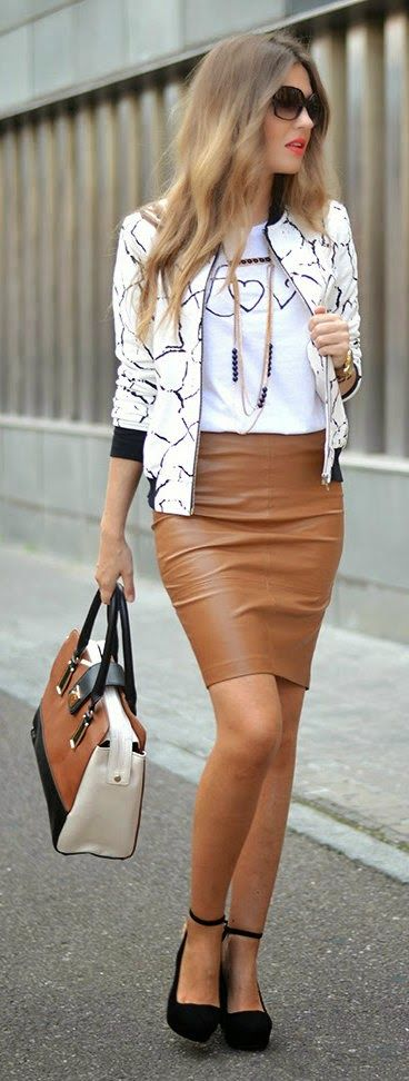 Daily New Fashion : Camel Leather Mini Skirt with Accessories