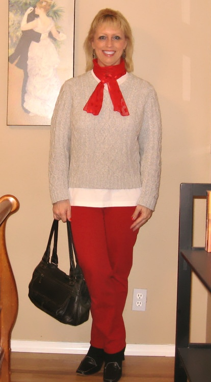 Red Jeans With Gray Sweater