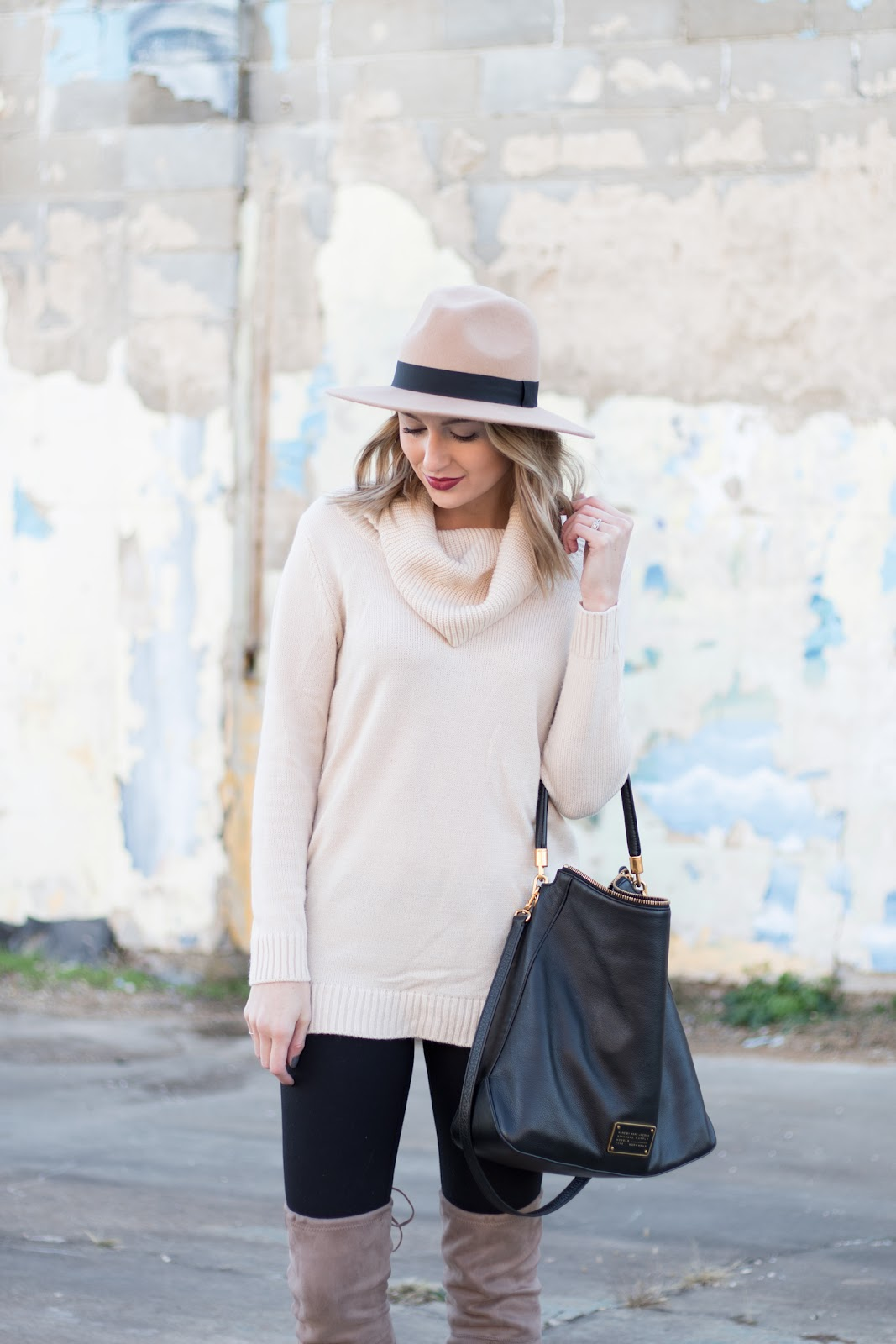 Long sweater with leggings and over the knee boots