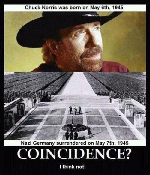 Chuck Norris birth and Nazi Germany Surrender - Coincidence?