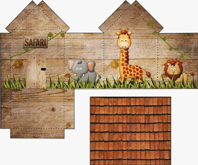 Safari: House shapped Free Printable Box.