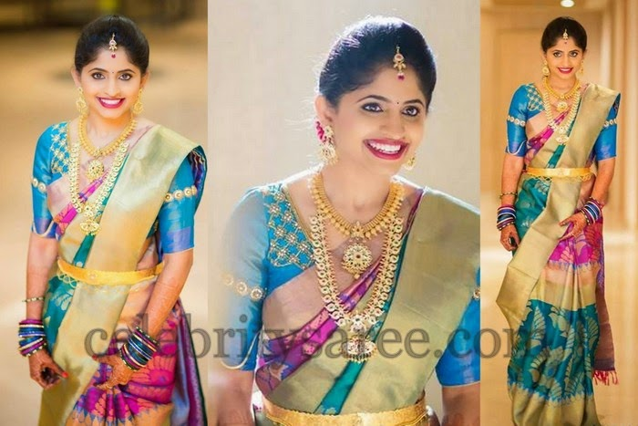 Bride in Multi Colors Wedding Sari