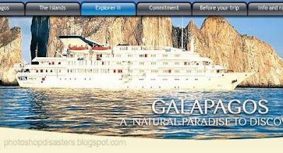 Folder publicitário de Galapagos tem erro de photoshop.