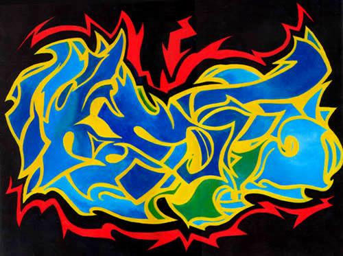 D React Graffiti Art With The Fire Effect