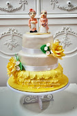 Stacked wedding fondant cake