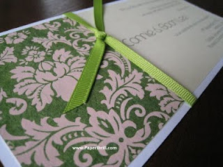 Green pink damask wedding invitation