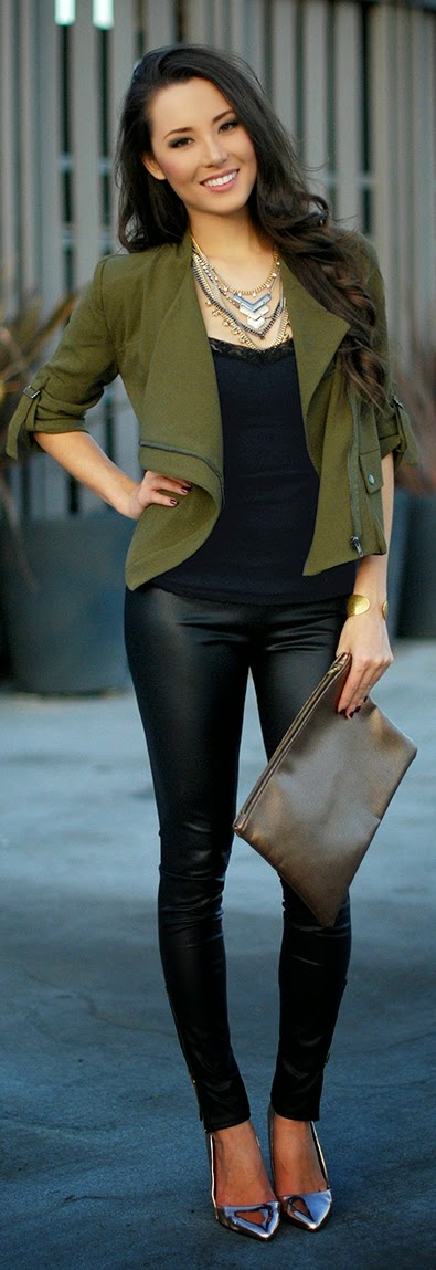 Causal Olive Jacket with Faux Leather Pant | Street Outfits