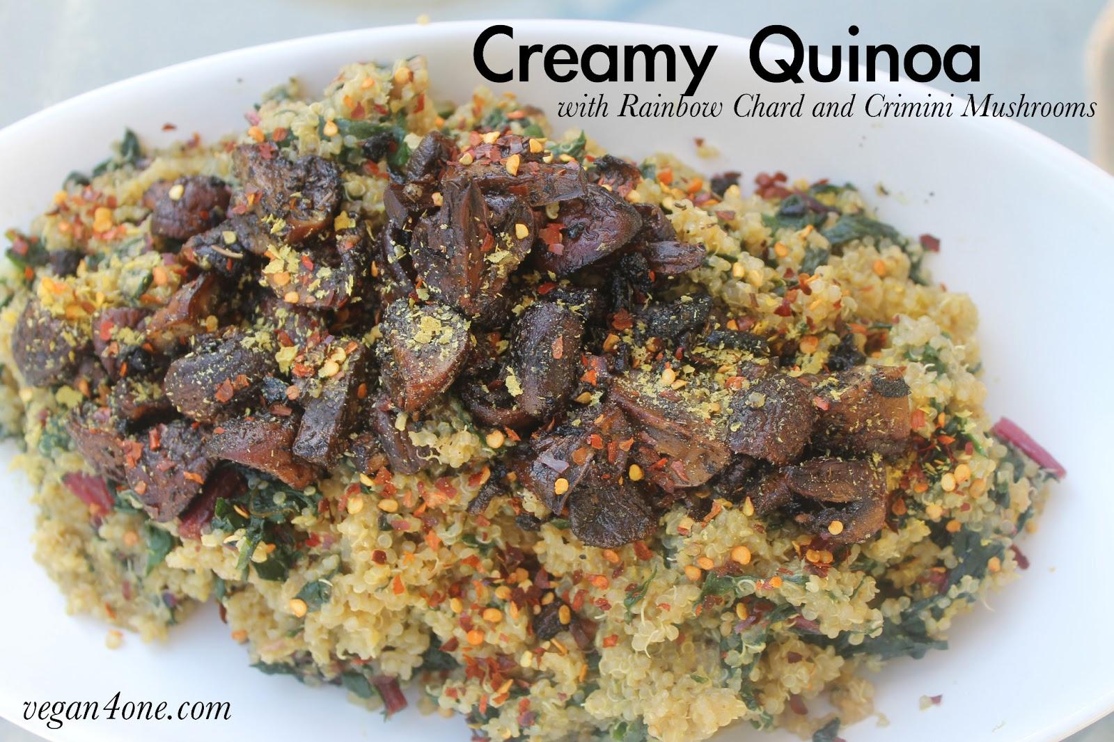 Creamy Quinoa with Rainbow Swiss Chard and Crimini Mushrooms