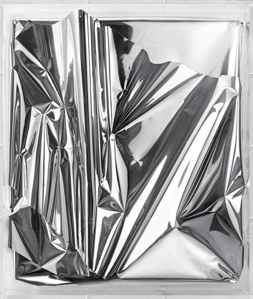 silver art, pleated art, pleated silver art, pleated alluminium