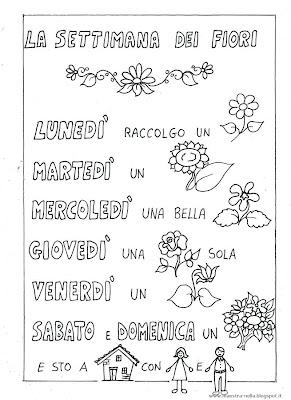 Maestra nella filastrocca 39 la settimana dei fiori 39 for Giorni della settimana per bambini da stampare