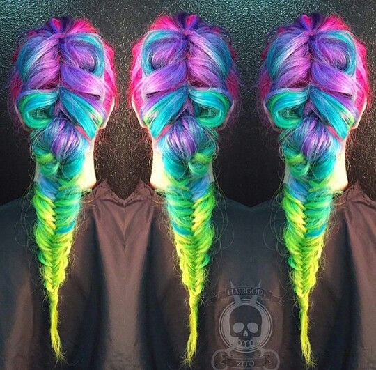 Stunning Rainbow Braids The HairCut Web