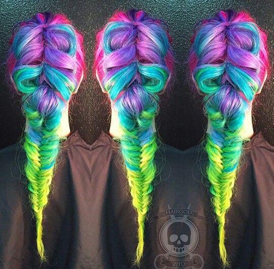 Stunning Rainbow Braids! - The HairCut Web Rainbow Braids