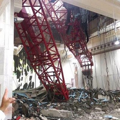 Tragedy as crane crashes through the ceiling of the Grand Mosque of Mecca killing many.