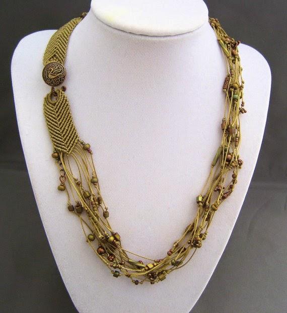 Multi strand micro macrame necklace with dragon button closure.