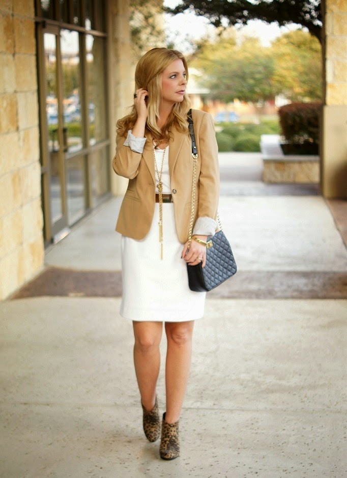 white dress with camel blazer leopard ankle boots