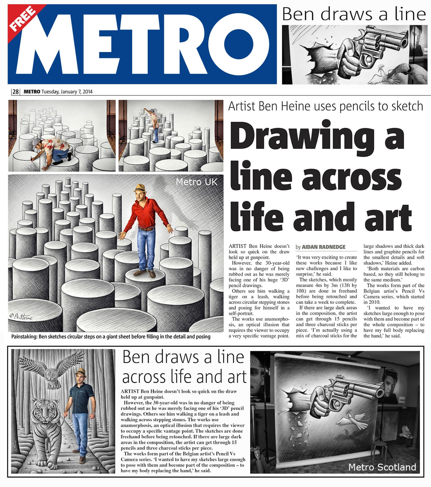 Ben Heine Art - News Article in Metro - UK (January 2014)